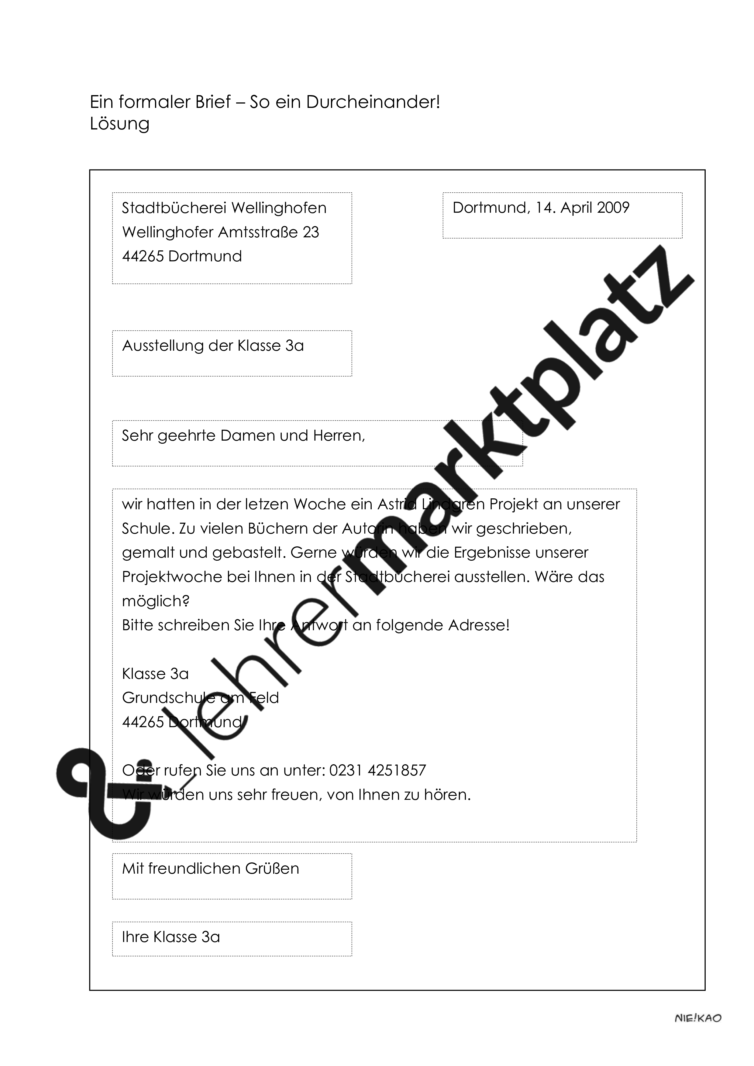Aufsatzerziehung 5 Brief Deutsch