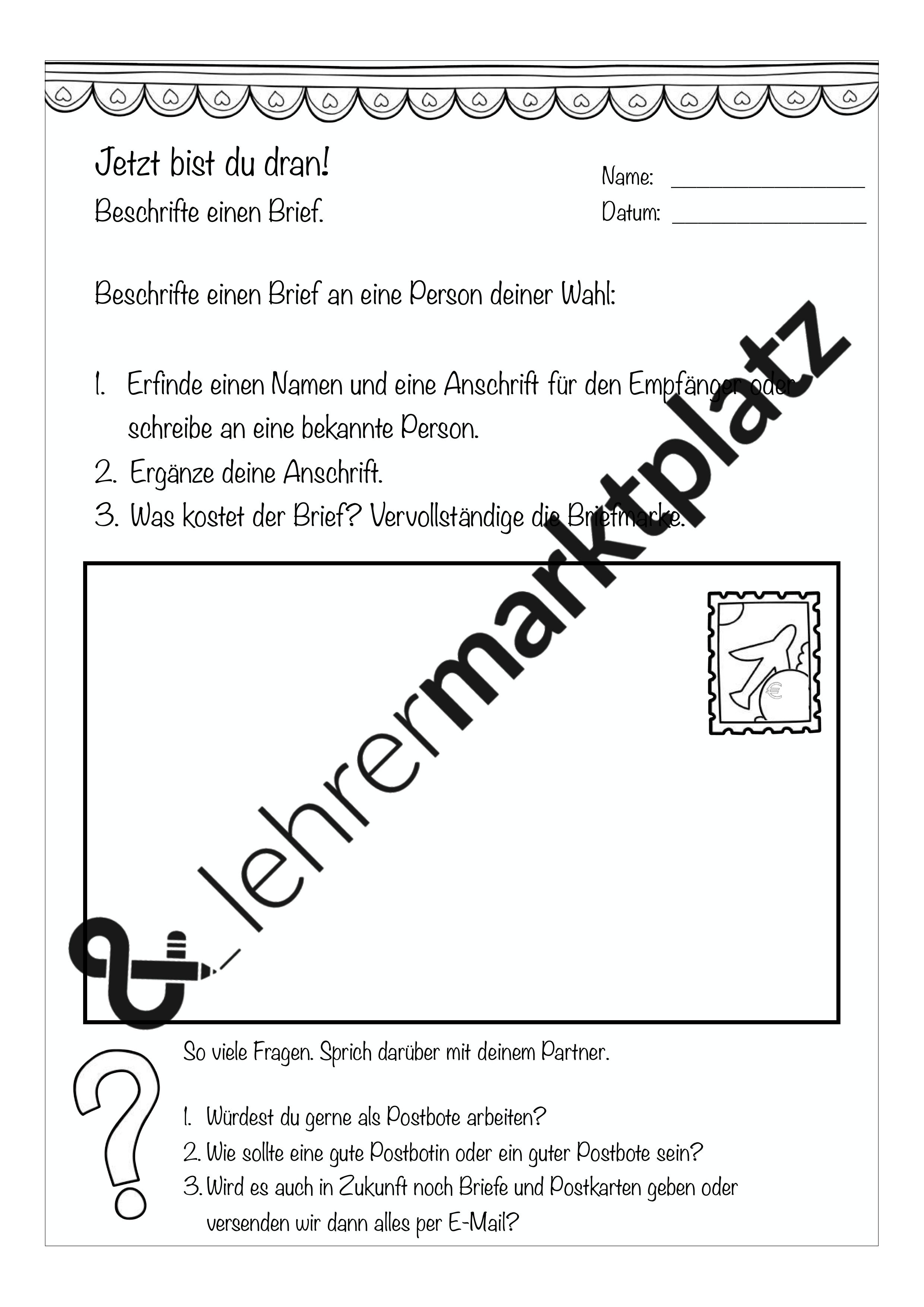 Einen Brief Beschriften Daz Daf Deutsch Fachübergreifendes