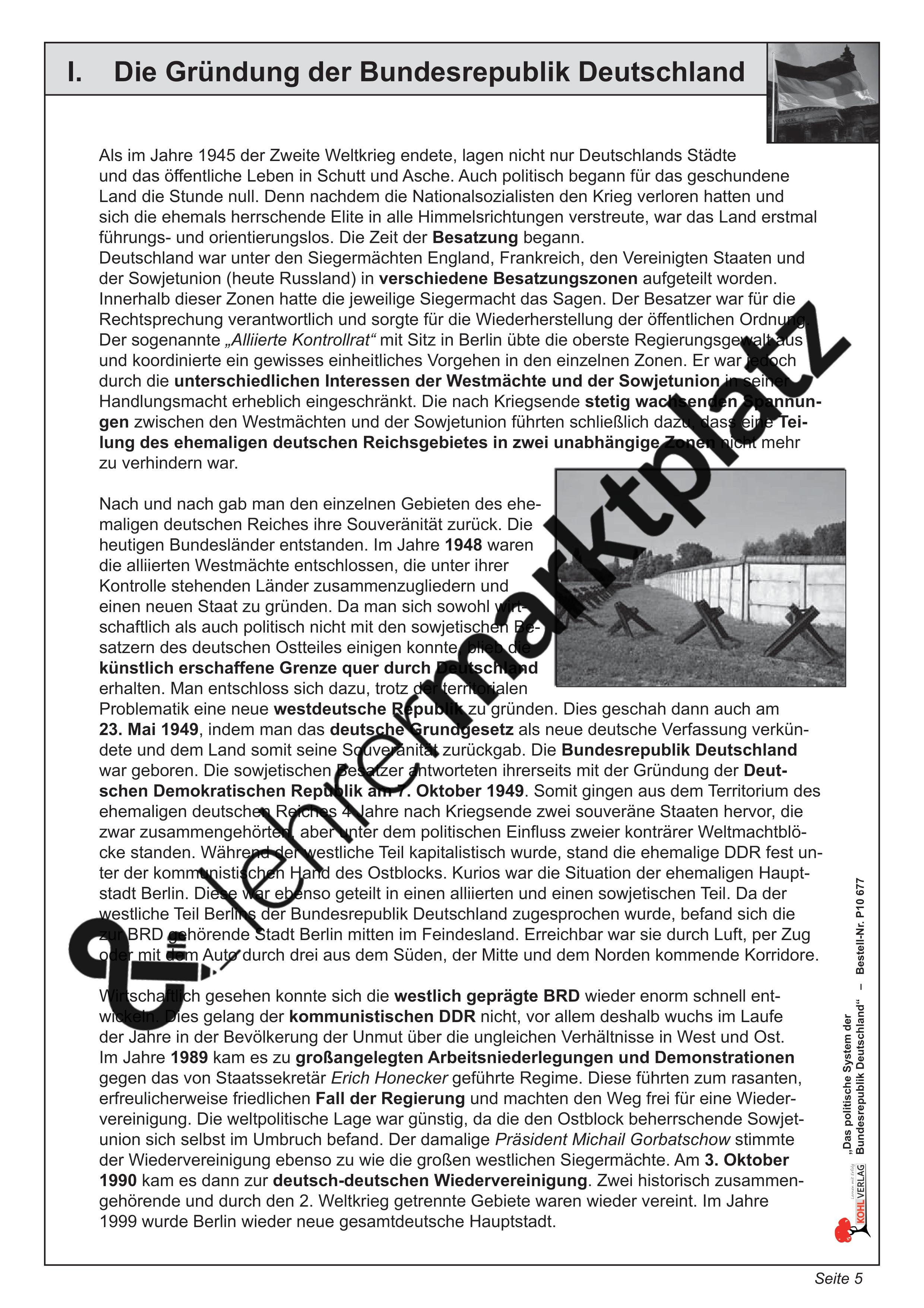 das politische system der bundesrepublik deutschland unterrichtsmaterial in den f chern. Black Bedroom Furniture Sets. Home Design Ideas