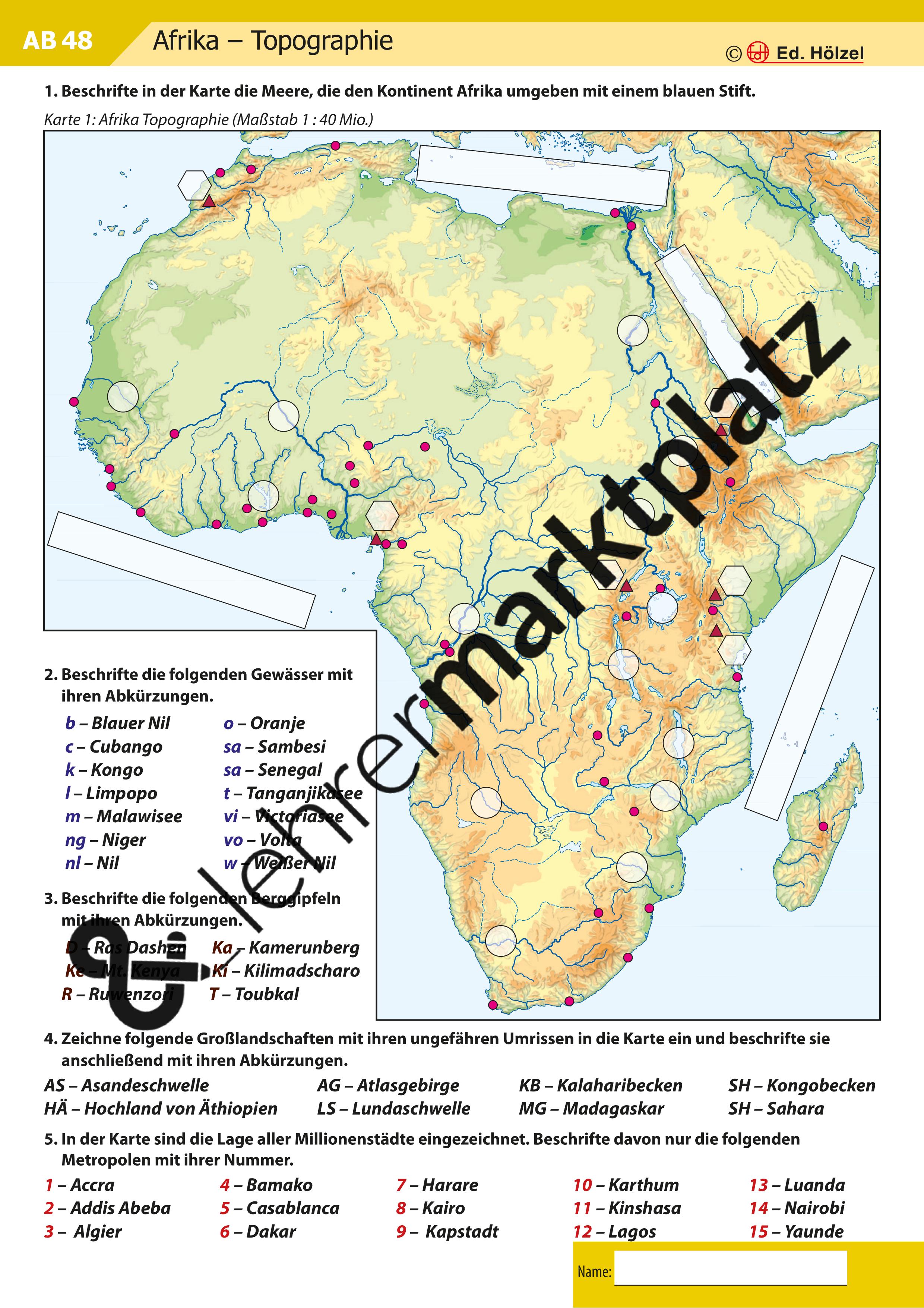 Stumme Karte Afrika.Atlasarbeit Afrika Topographie