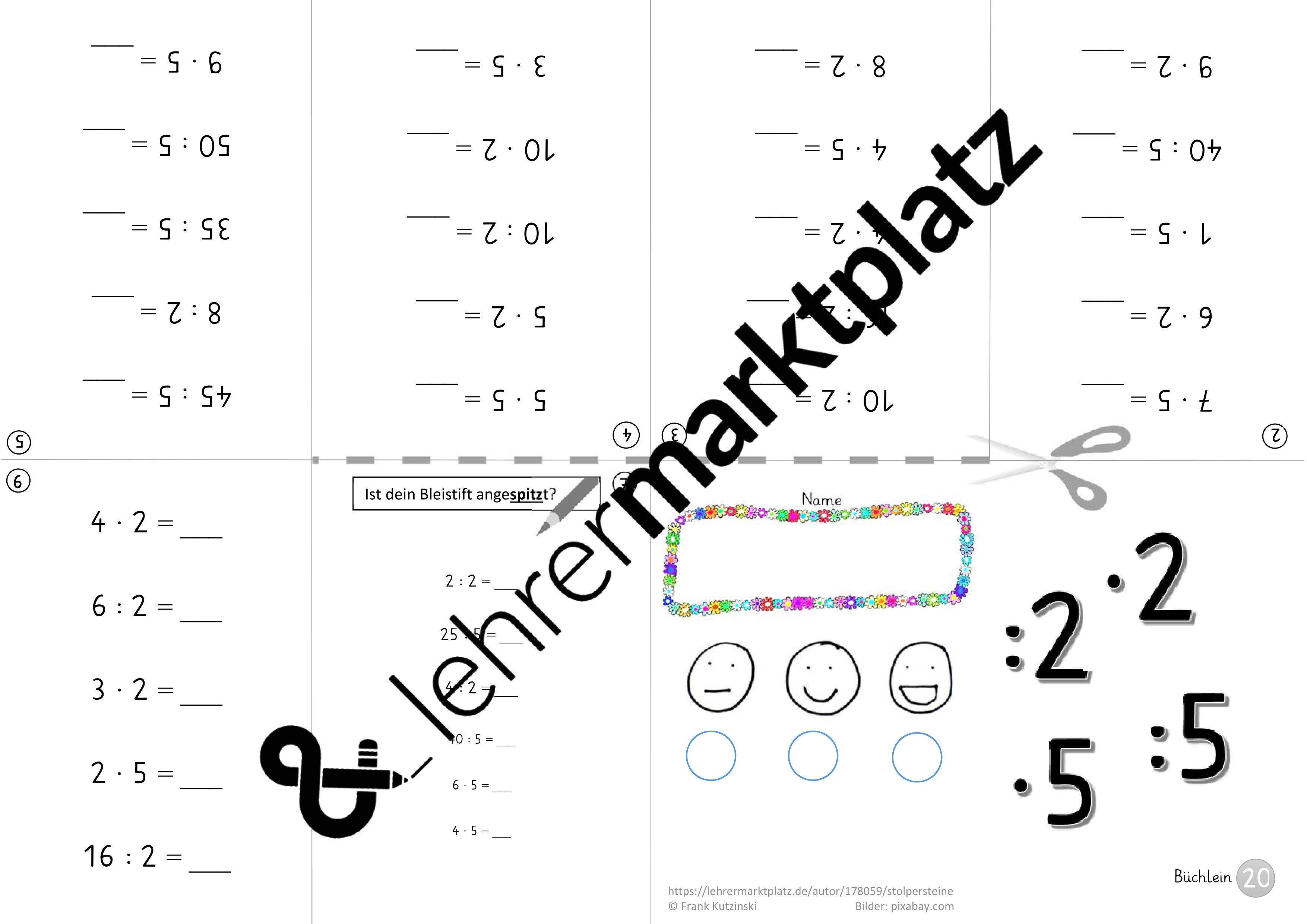 einmaleins minibooks 1x2 sammelband unterrichtsmaterial in den f chern mathematik. Black Bedroom Furniture Sets. Home Design Ideas