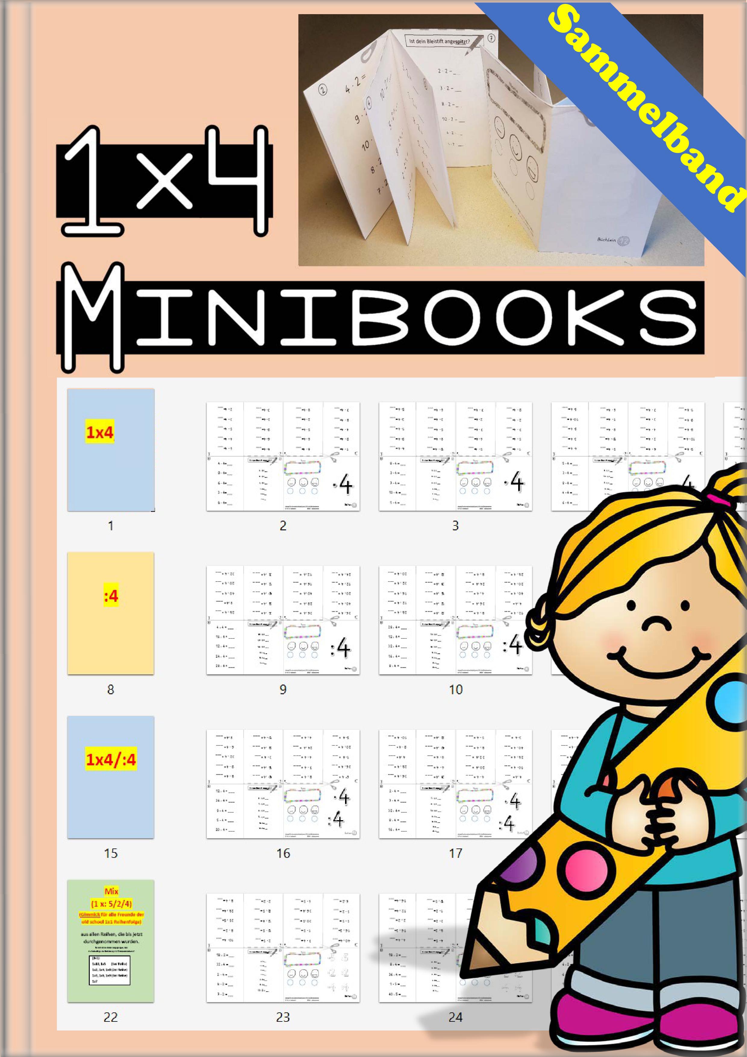 einmaleins minibooks 1x4 sammelband unterrichtsmaterial in den f chern mathematik. Black Bedroom Furniture Sets. Home Design Ideas