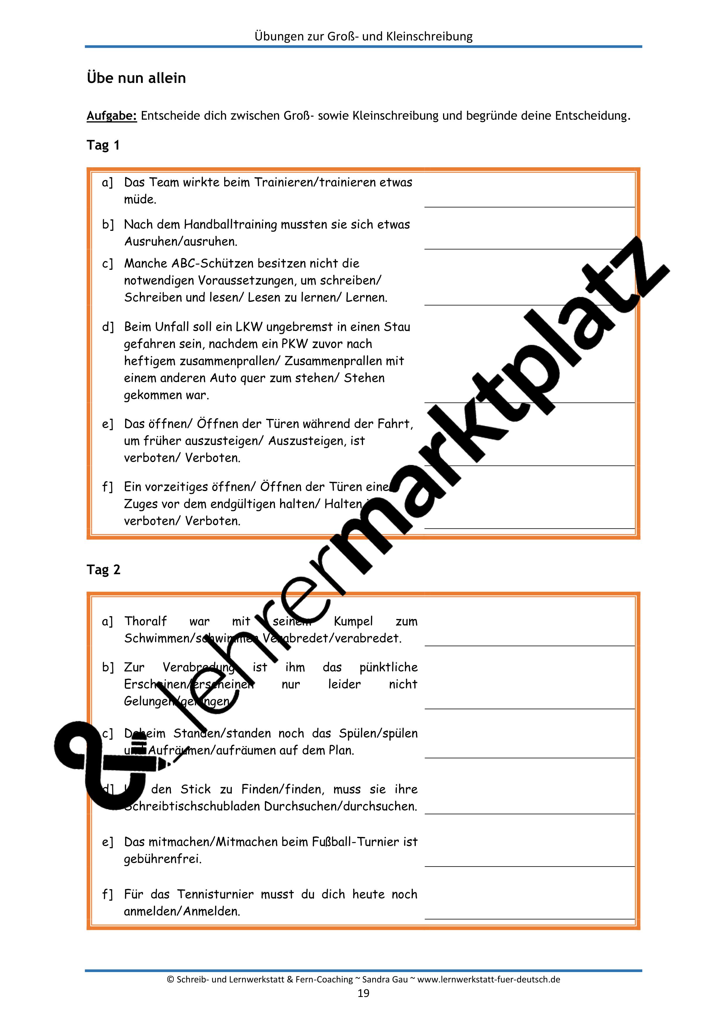 Übungen zur Groß- und Kleinschreibung – Unterrichtsmaterial in den ...