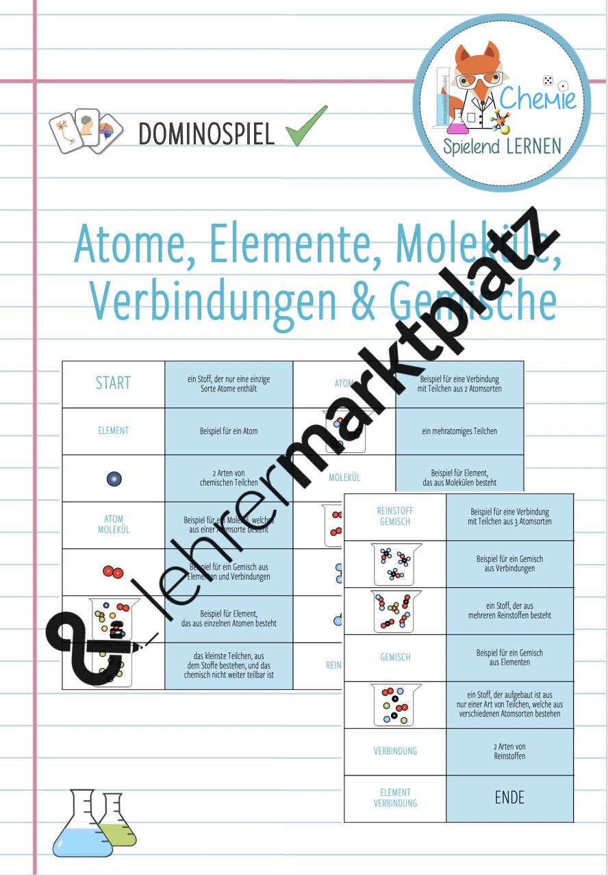 Atome Moleküle Stoffe Elemente Verbindungen Gemische Domino Spiel