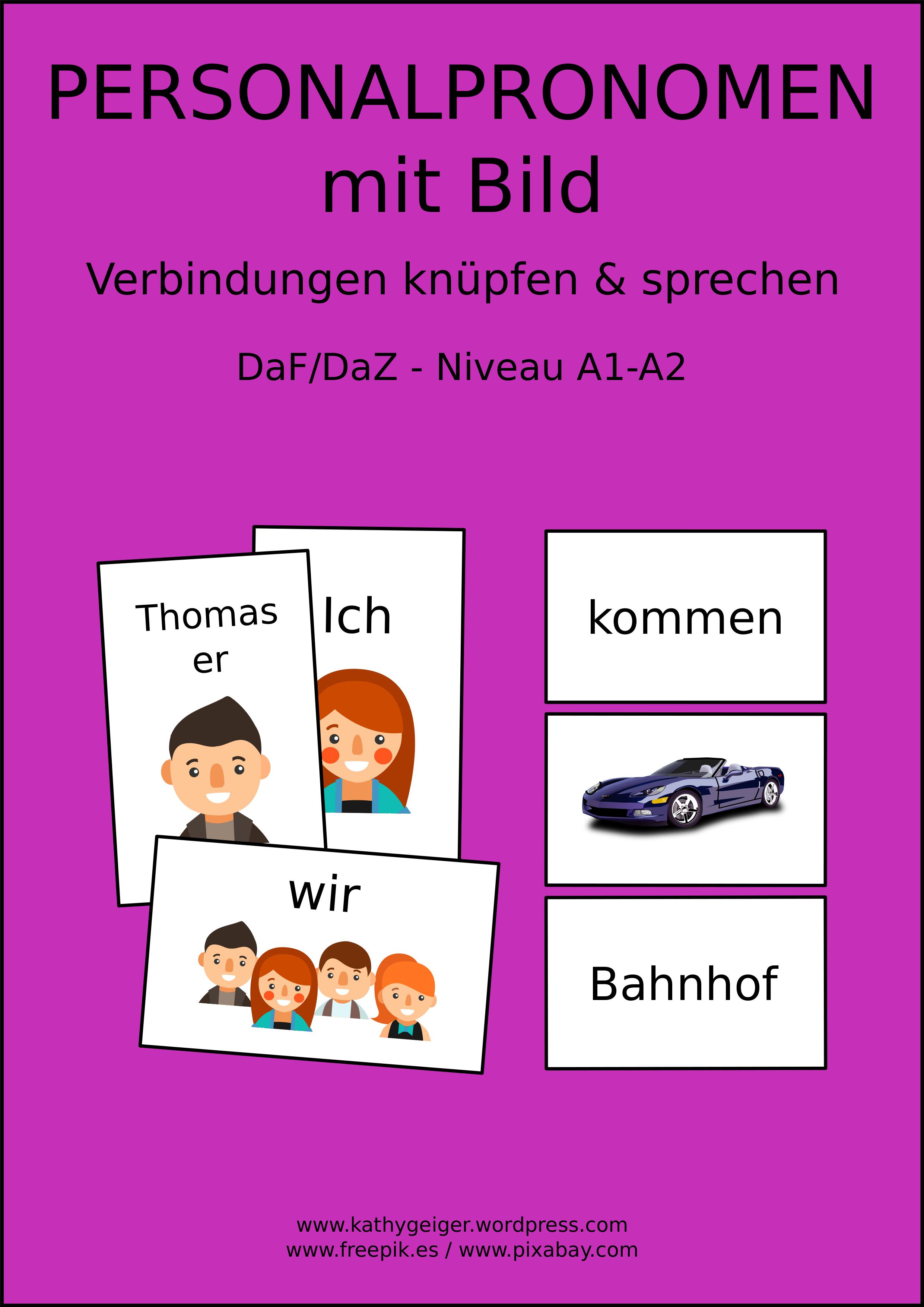 Personalpronomen Im Bild Dafdaz Niveau A1 Auch Für Deutsch In Der Grundschule